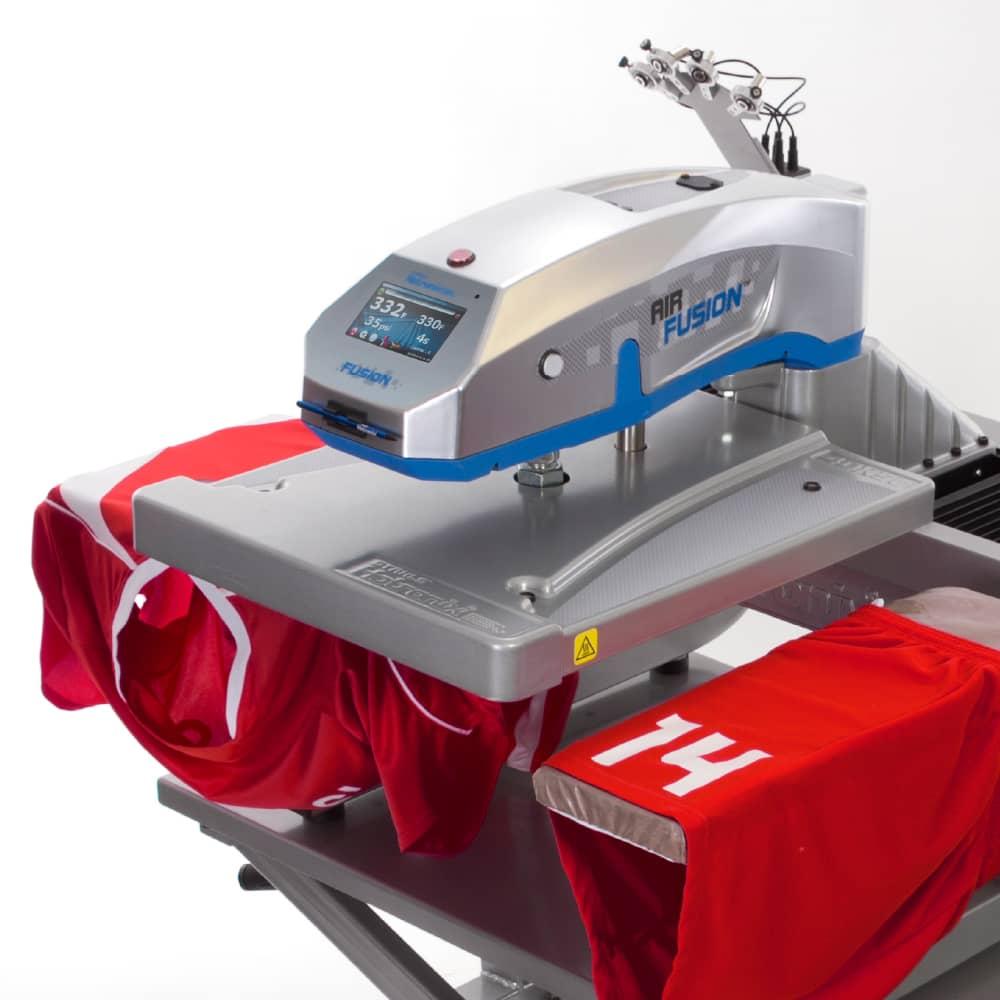 Heat Press Equipment Cart with Stahls Hotronix Fusion Heatpress and sports shirt
