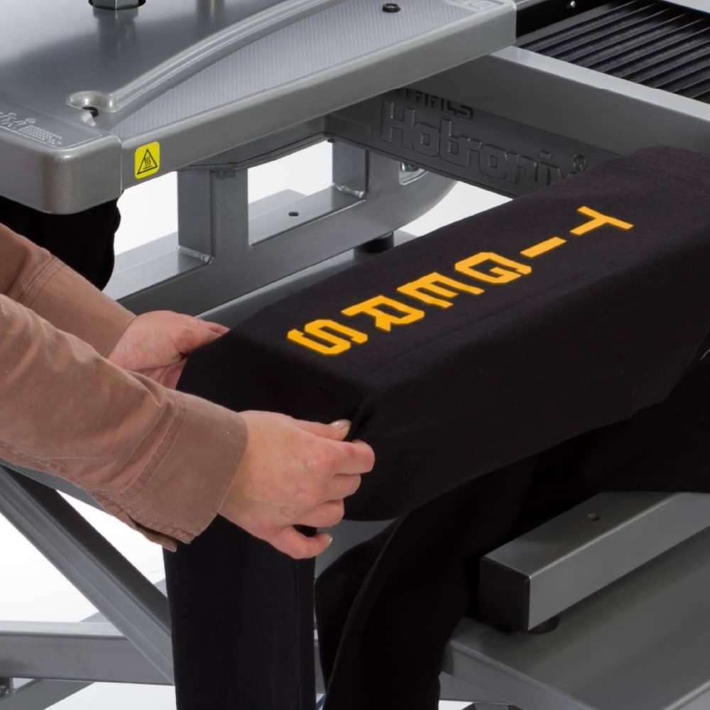 Heat Press equipment cart with stahls hotronix heat press and garment