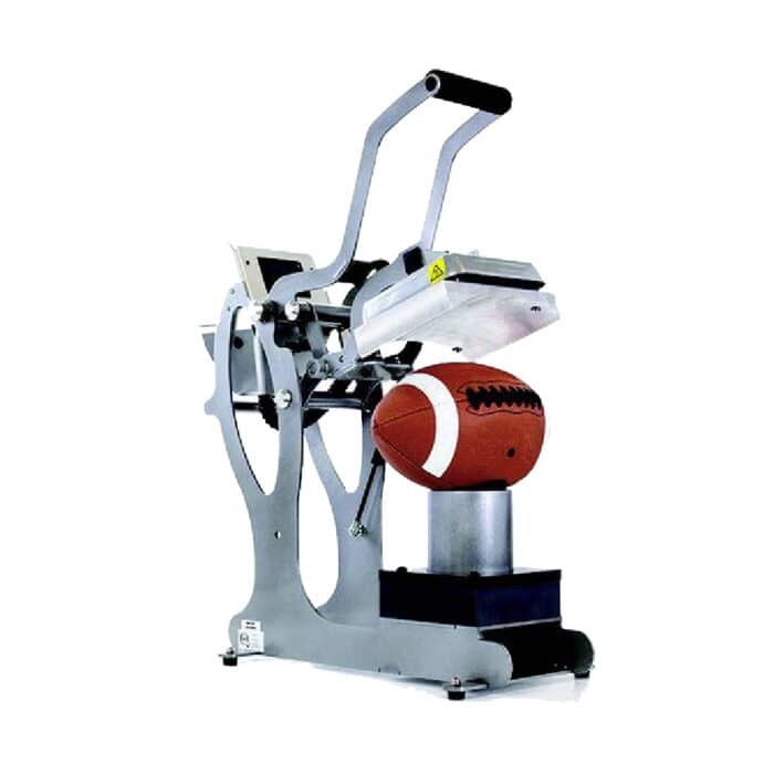 Stahls Hotronix Auto Open Sports Ball Press with rugby ball