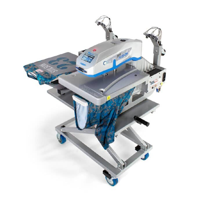 Stahls Hotronix Dual Air Fusion Table Top Heat Press with garments