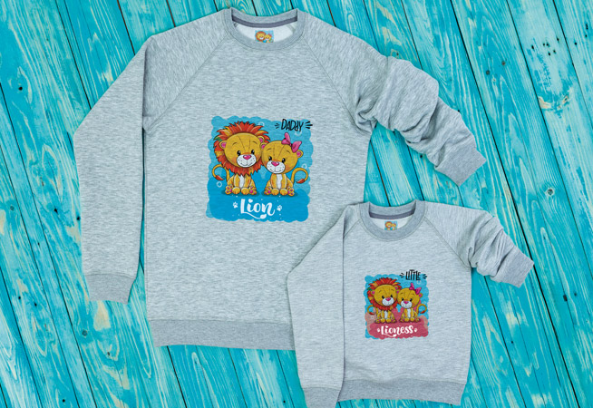 Children's Grey Sweatshirts with animal prints on blue wooden background printed using the Roland XT-640S Direct to Garment Printer