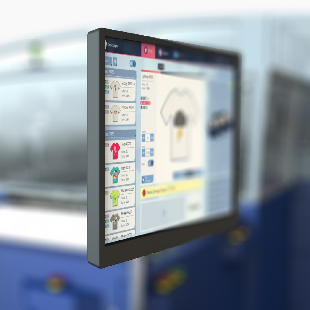 Computer screen of a Kornit Vulcan Plus with blurred background