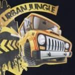 Urban jungle design on black shirt made with Sef Tatoo Nylon Vinyl