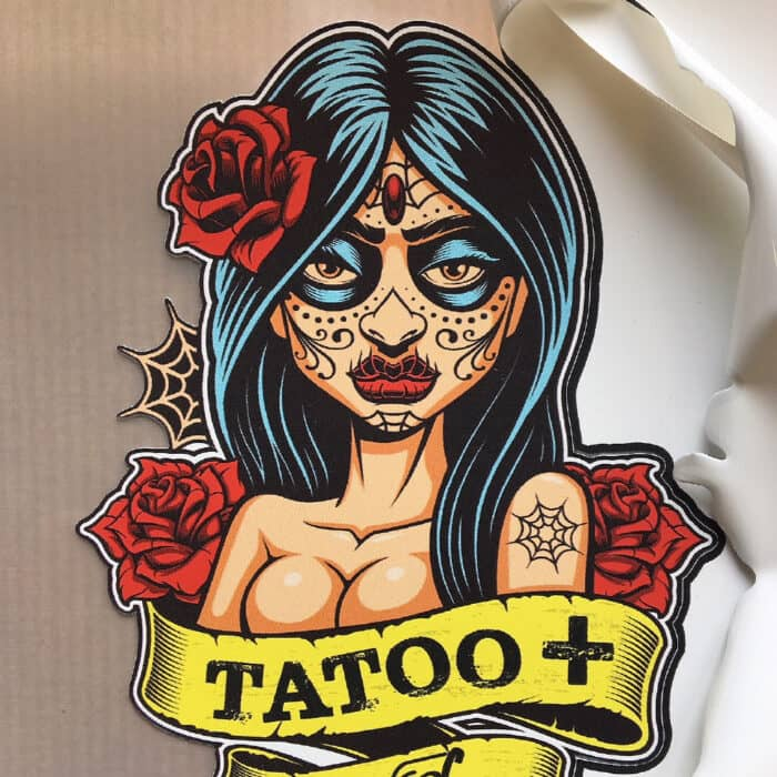 Mexican lady design being weeded with Sef Tatoo Plus