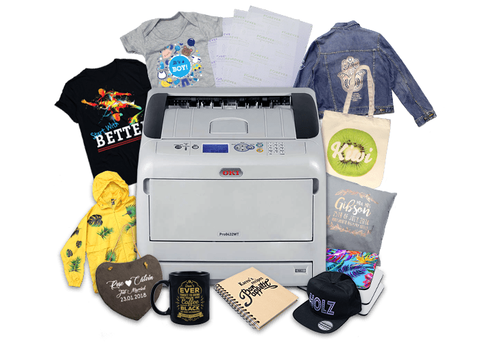 OKI Pro8432WT and Forever Papers application collage