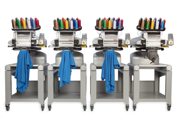 Melco EMT16X Four Head Embroidery Machine with garments