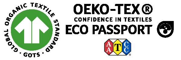 GOTS & OEKO-TEX Confidence in Textiles Eco Passport Certified Ink Standards Logo on transparent background