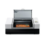 Roland Versa UV LEF-300D Flat Bed Printer with lid open on white background