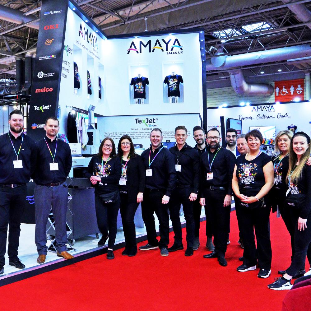 Amaya Sales UK Team Photo at Printwear and Promotion Live Show