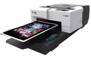 Texjet Echo2 Direct to garment machine with groovy print on transparent background