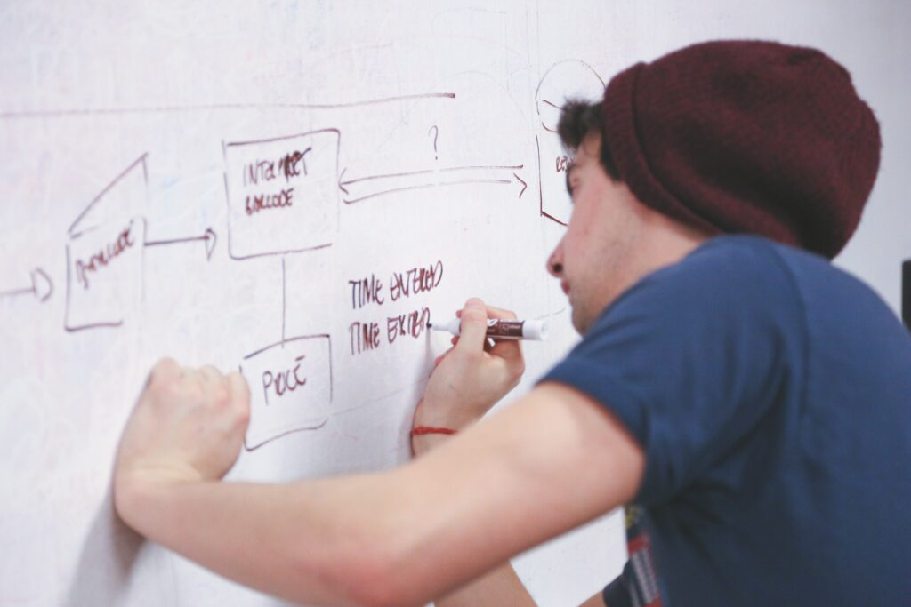 Man drawing workflow onto white board