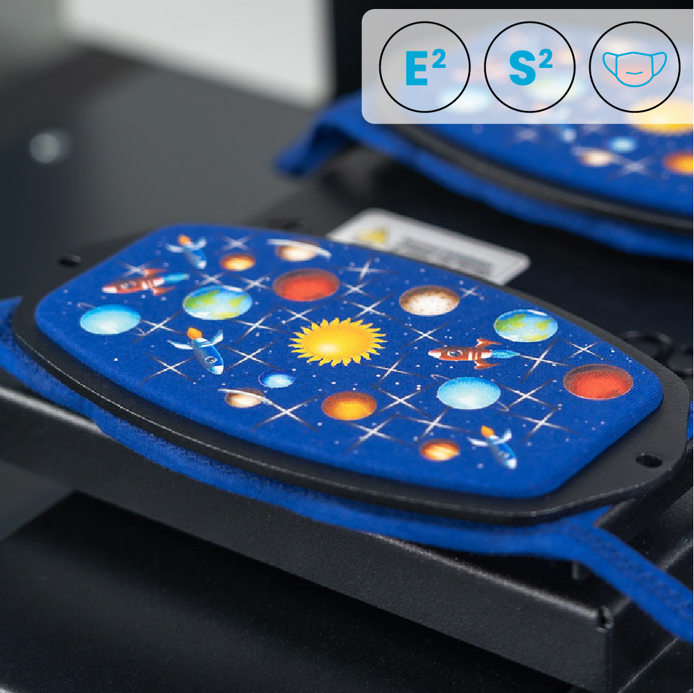 Polyprint Echo2 and Shortee2 Face Mask Platen with space design on grey background with Icons