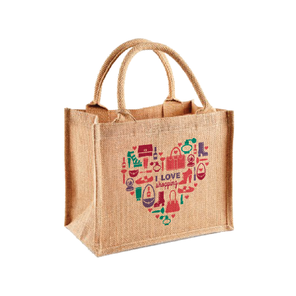 Brown thatch Bag with heart design printed with Forever Five Star Universal Paper on white background
