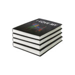 Black stack of books with I love my print using Forever Laser Dark No Cut B lite Paper
