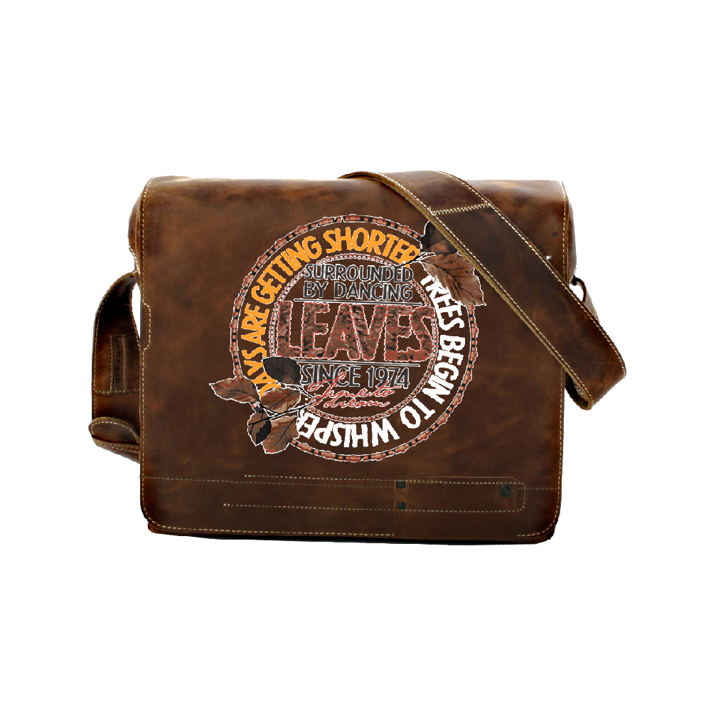 Brown Satchel Bag with printed design using Forever Laser Dark No Cut B Lite Paper on white background