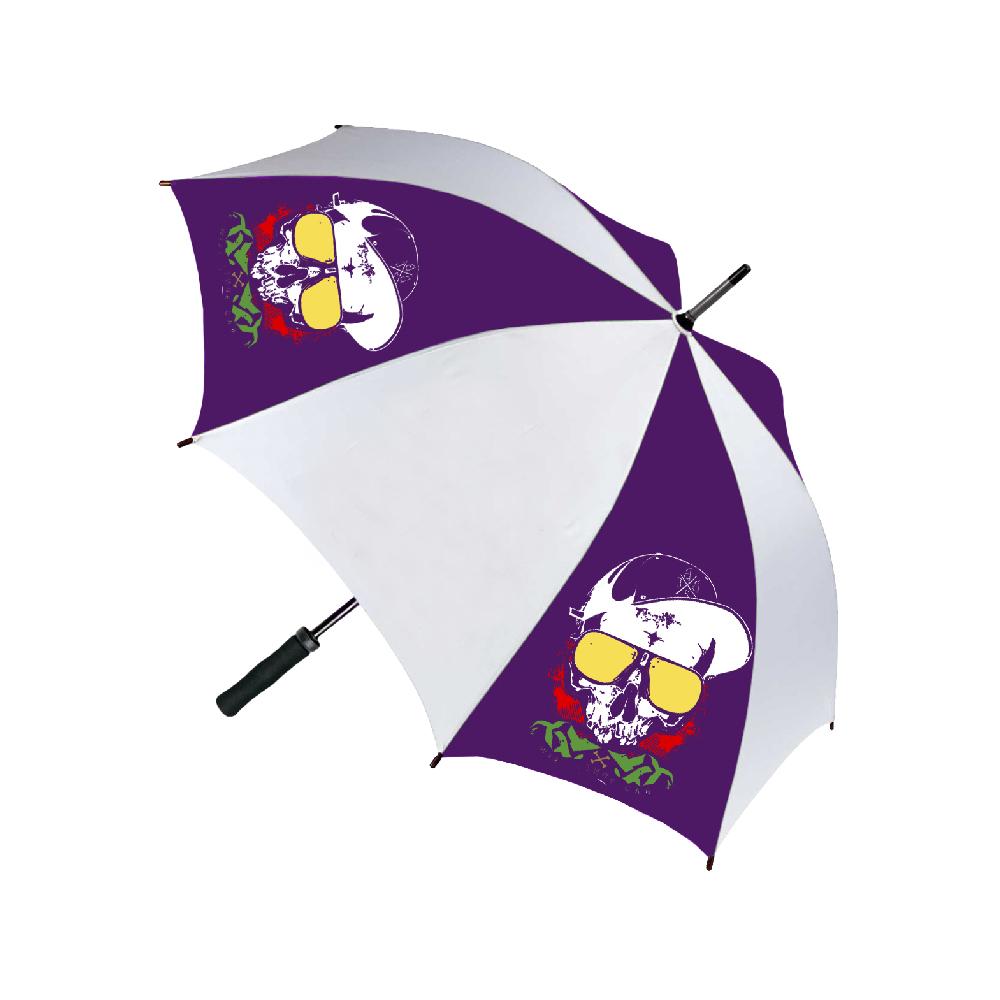 Purple and white umbrella with printed skull design using Forever Laser Dark No Cut B Lite Paper