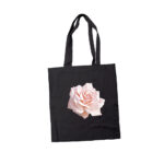Black Tote Bag with pink rose design printed with Forever Laser Dark No Cut Lite B Paper on white background