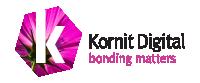 Kornit Digital Bonding Matters Logo in pink and black on transparent background