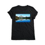 Black T-shirt with Block image design of mountains printed with Forever Laser Dark Cuttable Paper on white background