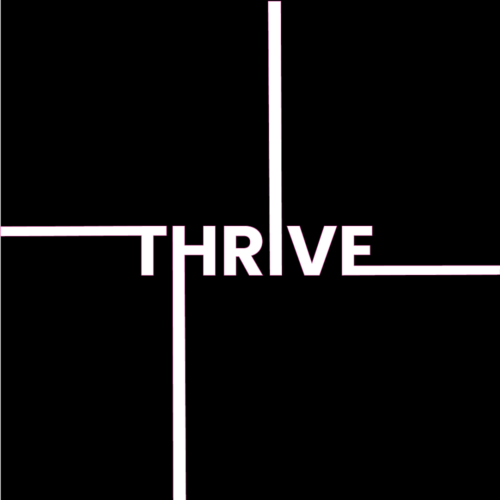Black Pink and White Social Graphic with word Thrive