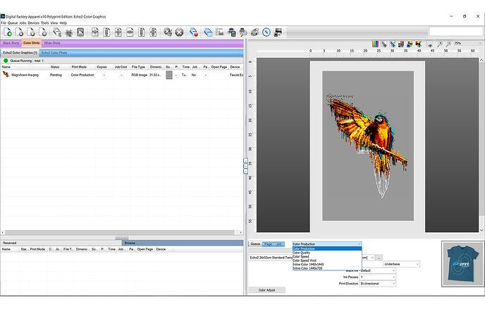 Digital Factory Colour and black Print Queue Screen