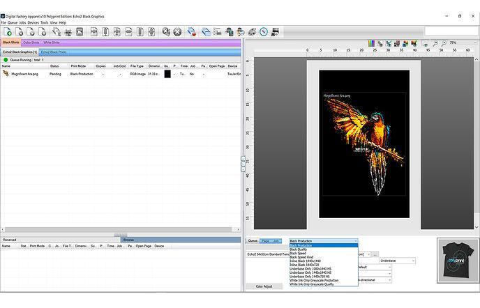 Digital Factory Inline Colour Black Print Queue Screen