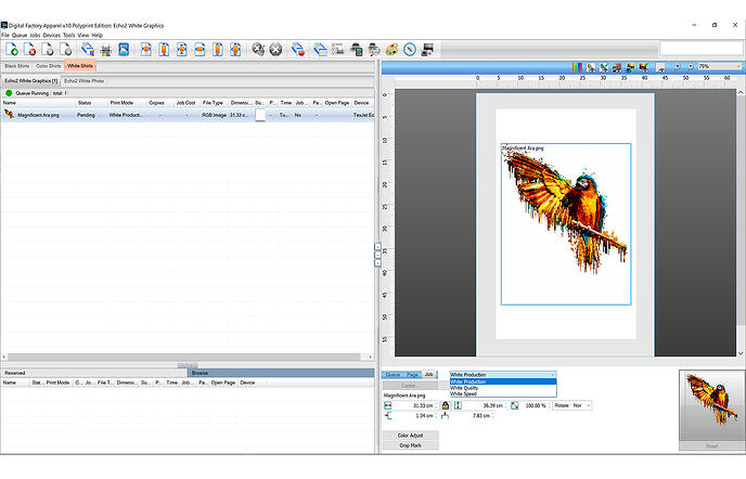 Digital Factory White Print Queue Screen