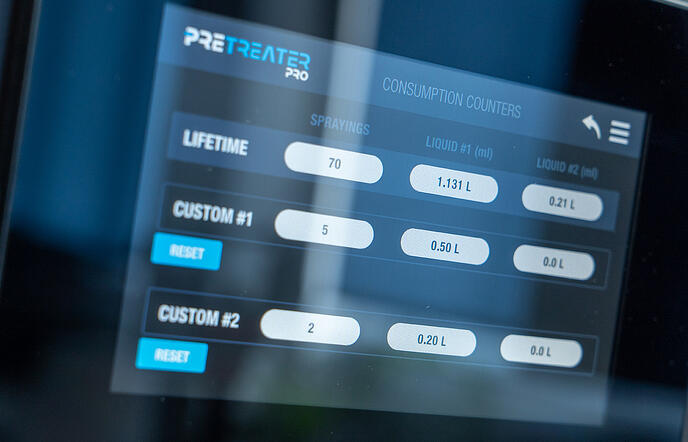 Polyprint Pretreater Pro Consumption Counters Screen
